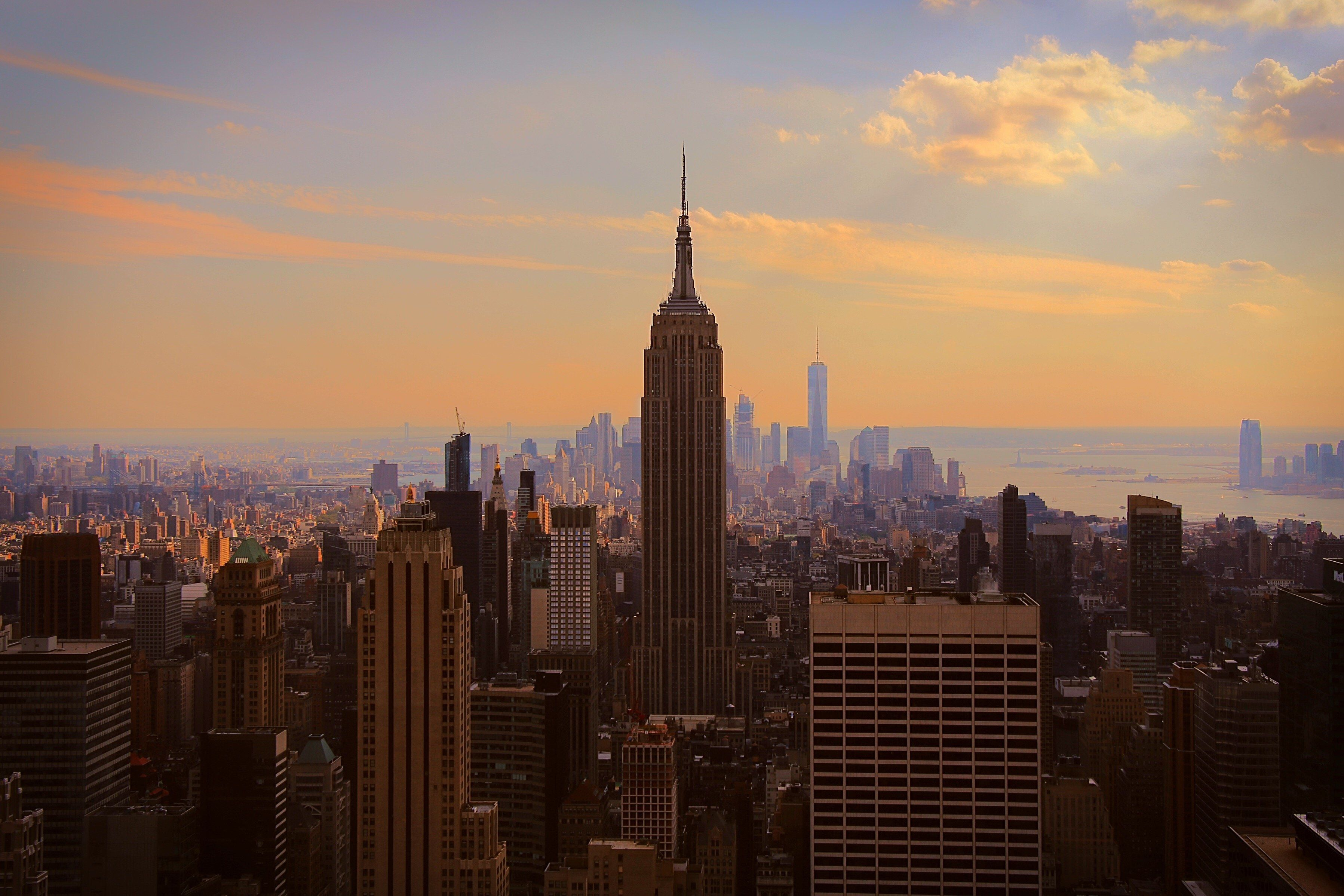 Aerial vies of Cityscape of New York city On Sunset with Empire State building