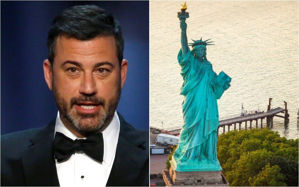 Jimmy Kimmel and Statue of Liberty