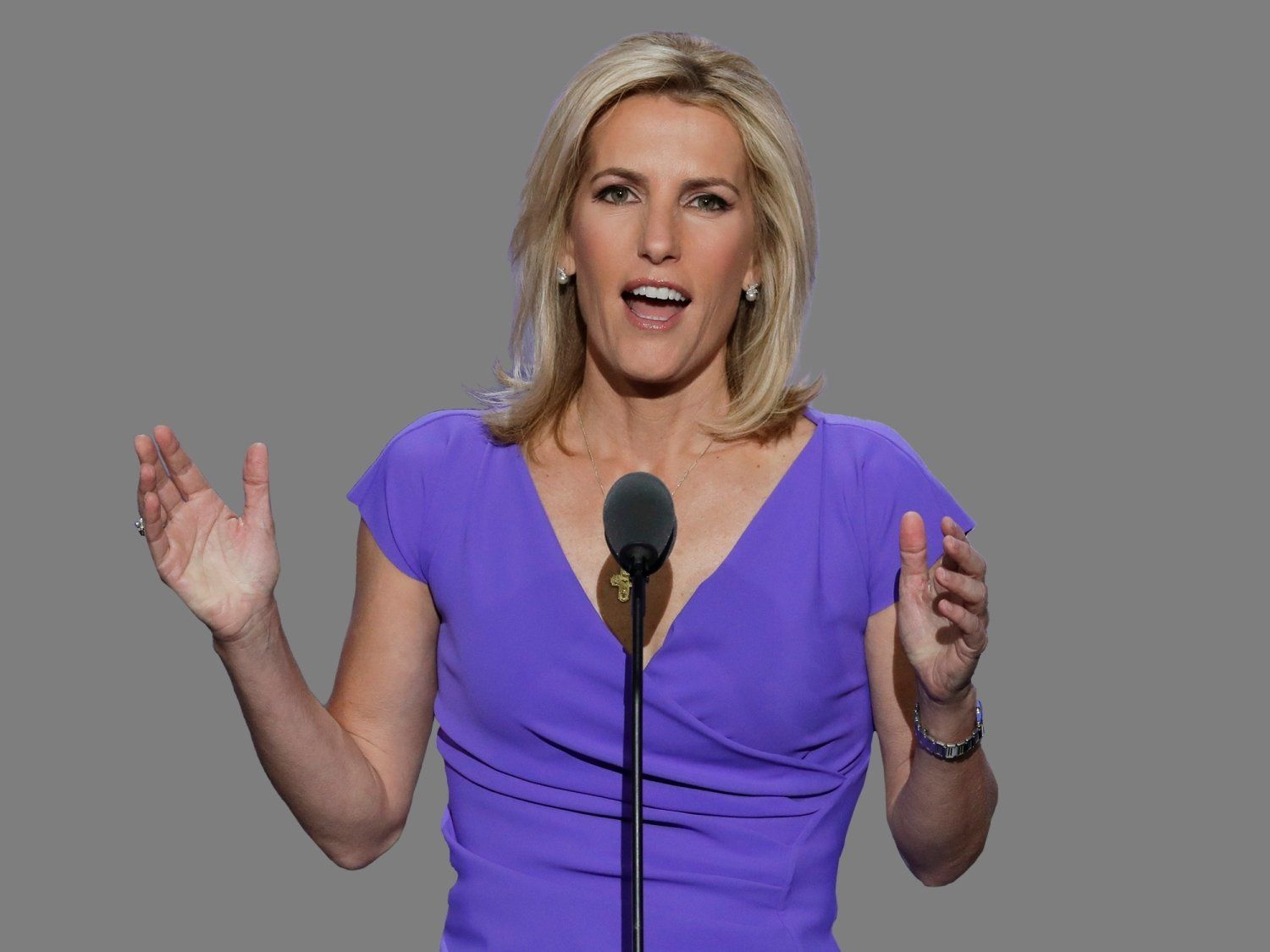 Laura Ingraham headshot, talk show host, graphic element on gray