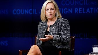 NEW YORK, USA - NOVEMBER 02: US Department of Homeland Security Secretary Kirstjen Nielsen, speaks about 'solutions for safeguarding US elections and enhancing cybersecurity at the Council on Foreign Relations in New York, United States on November 02, 2018. (Photo by Atilgan Ozdil/Anadolu Agency/Getty Images)