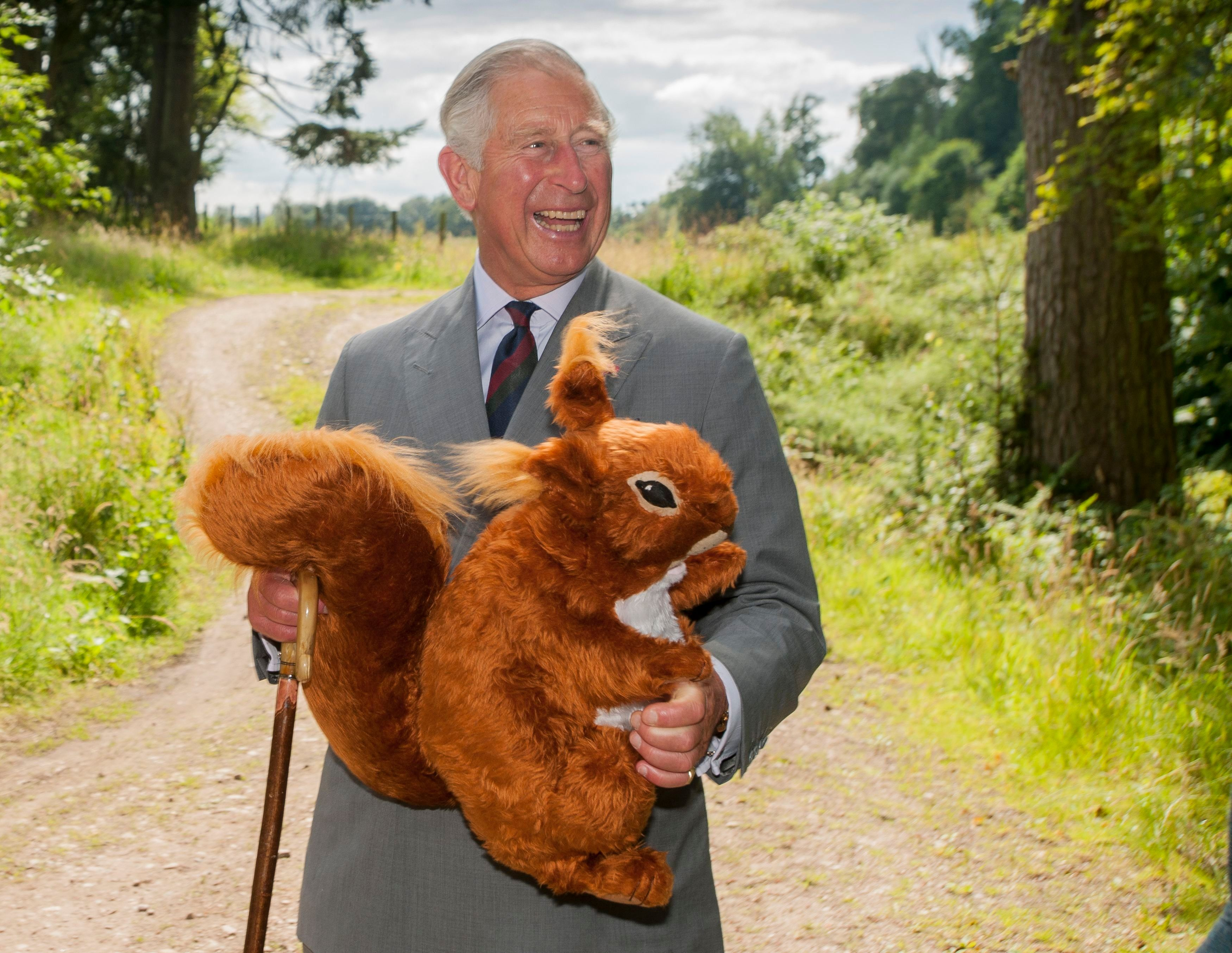 The Prince of Wales receives a toy red squirrel for Prince George, presented by the Scottish Wildlife Trust during the visit to Murthly Castle, Perthshire to attend a reception mark the Trust's 50th anniversary.