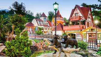 Helen, Georgia, USA - May 7, 2013: The square in the Appalachian town of Helen. The architectural theme of the town is inspired by the Bavarian Alps and it is a popular Oktoberfest destination.