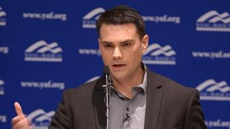Controversial conservative commentator Ben Shapiro, editor-in-chief of the Daily Wire and former editor-at-large of Breitbart News, addresses the student group Young Americans for Freedom at the University of Utah's Social and Behavioral Sciences Lecture Hall, Wednesday, Sept. 27, 2017, in Salt Lake City.  (Leah Hogsten/The Salt Lake Tribune via AP, Pool)