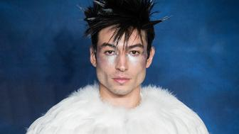 LONDON, ENGLAND - NOVEMBER 13:  Ezra Miller  attends the UK Premiere of 'Fantastic Beasts: The Crimes Of Grindelwald' at Cineworld Leicester Square on November 13, 2018 in London, England.  (Photo by Samir Hussein/WireImage)