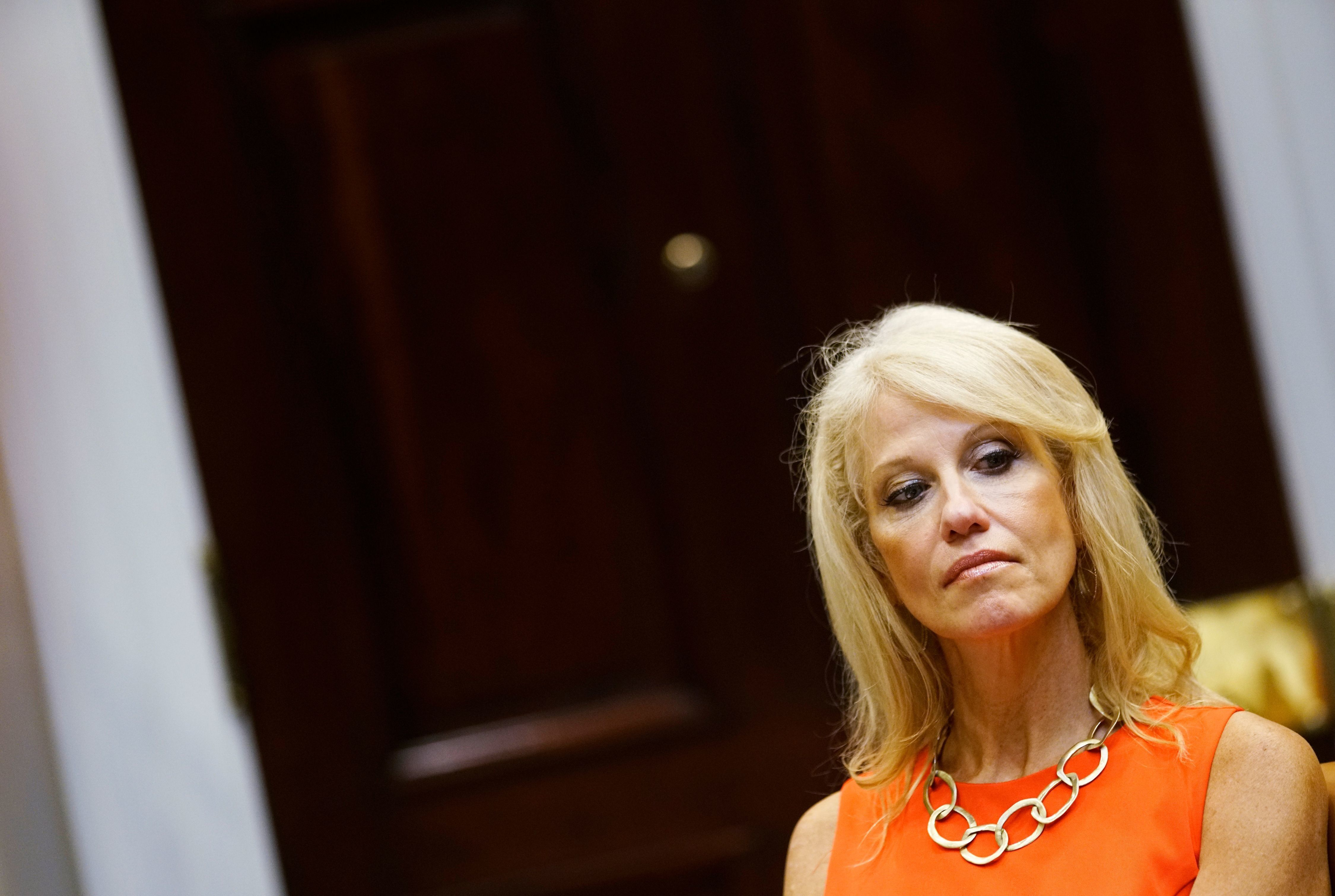 Counselor to the President Kellyanne Conway attends an announcement by US President Donald Trump on a grant for drug-free communities support program in the Roosevelt Room of the White House in Washington, DC on August 29, 2018. (Photo by MANDEL NGAN / AFP)        (Photo credit should read MANDEL NGAN/AFP/Getty Images)