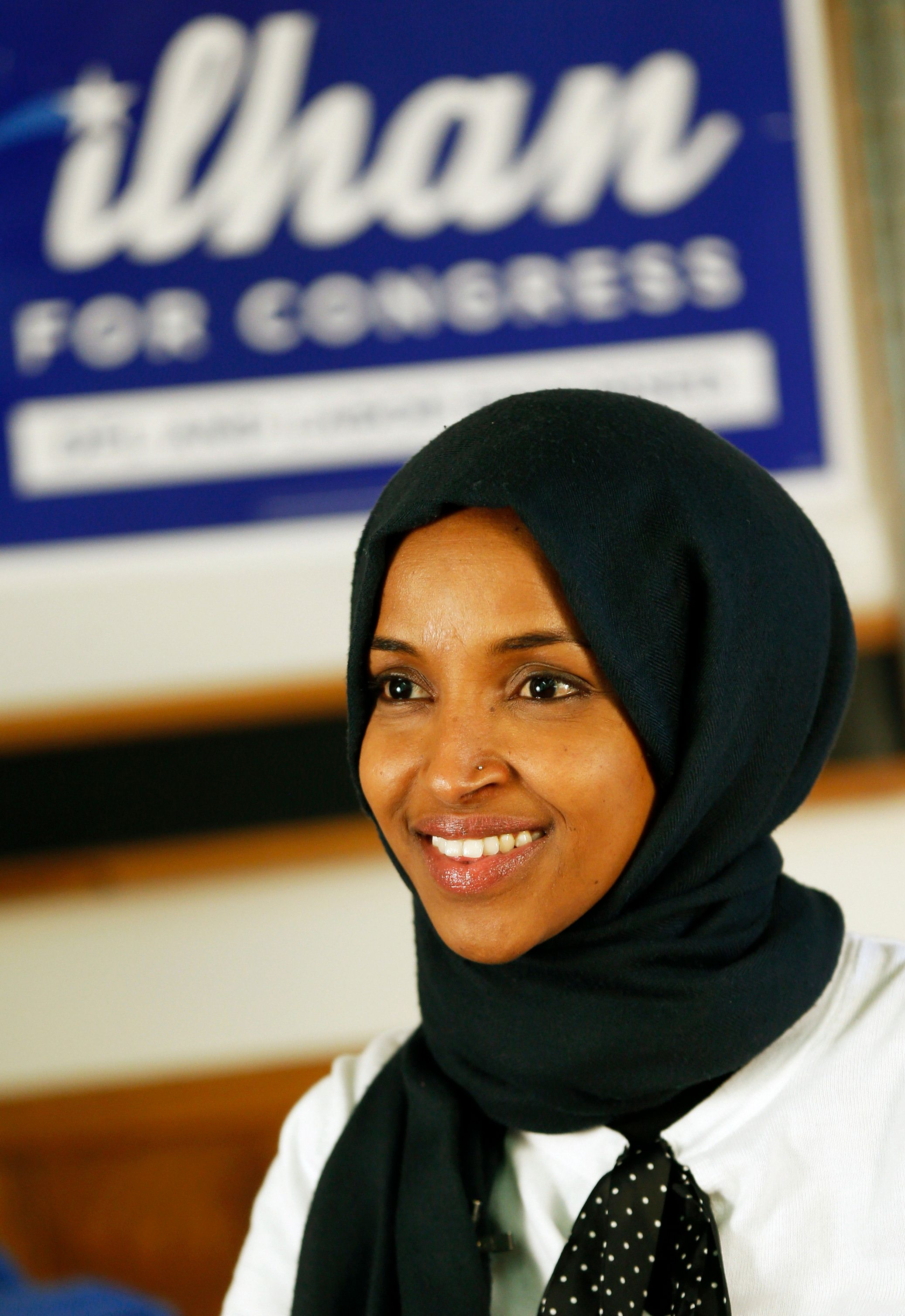 Democrat Ilhan Omar is interviewed by The Associated Press Wednesday, Nov. 7, 2018, in Minneapolis after winning Minnesota's 5th Congressional District race in Tuesday's election. She will be the first Somali American to serve in Congress and one of the first two Muslim women to serve in Congress. (AP Photo/Jim Mone)