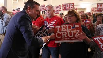 ATASCOCITA, TX - NOVEMBER 05:  U.S. Sen. Ted Cruz (R-TX) greets supporters during a Get Out The Vote Bus Tour rally on November 5, 2018 in Atascocita, Texas. With one day to go until election day, Sen. Cruz is campaigning throughout Texas as he battles democratic challenger Beto O'Rourke in a tight race to save his Senate seat.  (Photo by Justin Sullivan/Getty Images)