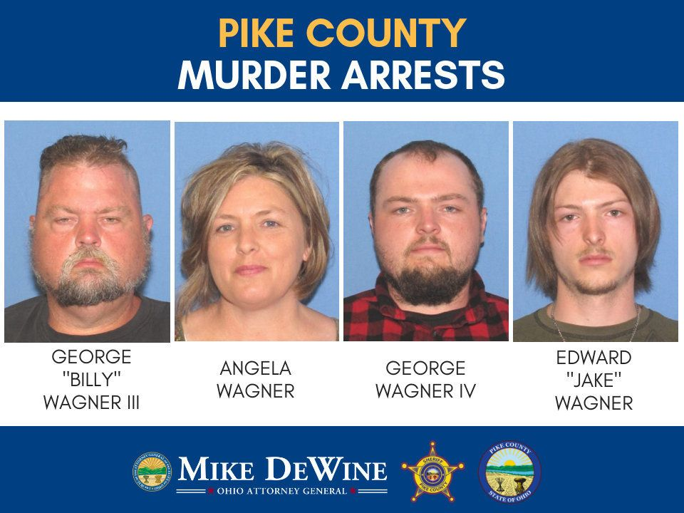 A family of four was arrested Tuesday in the gruesome slayings of eight people from another family in southern Ohio two years