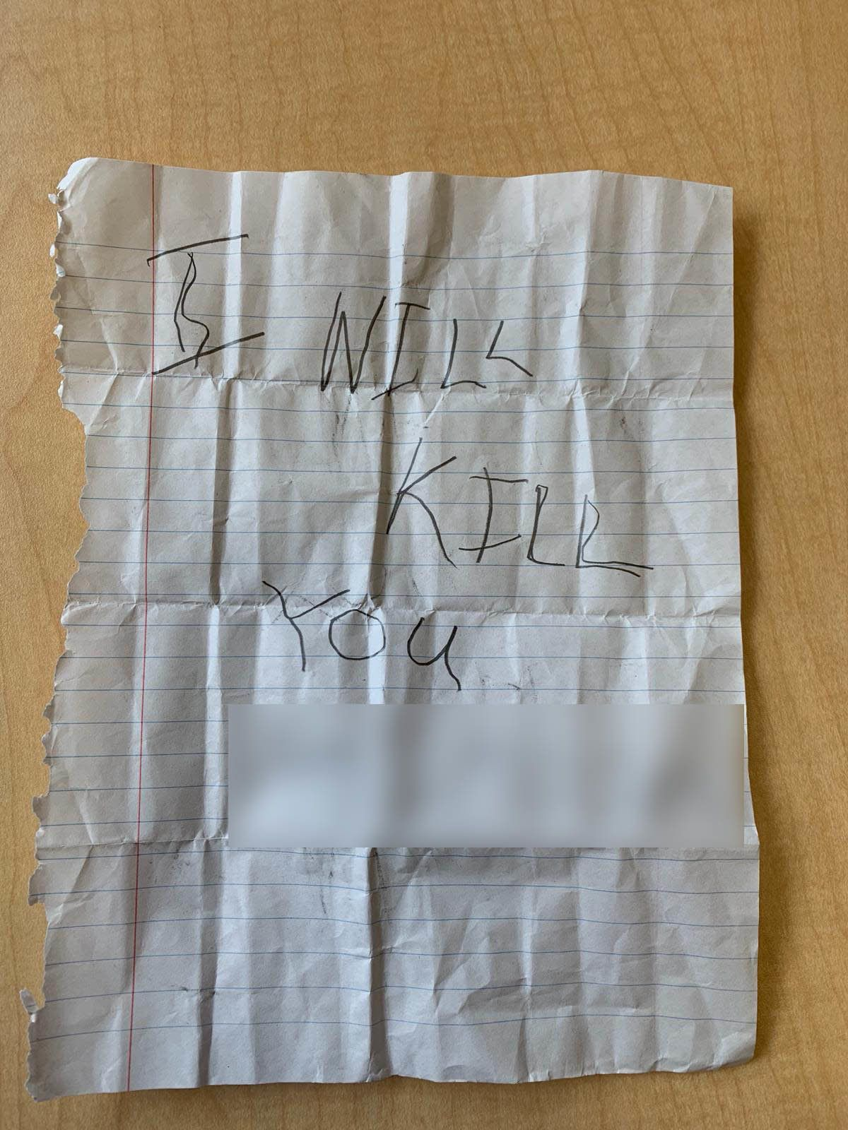 This is the second note that the fifth-grader reportedly found in her cubby.