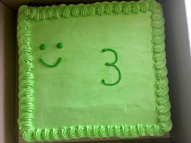 The birthday cake Shane Hallford bought for his son, Mason, 3, from Woolworths in