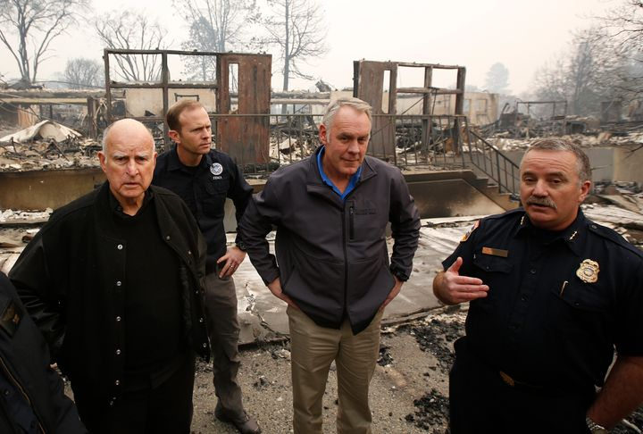 (From left) California Gov. Jerry Brown, Federal Emergency Management Agency Director Brock Long, Interior Secretary Rya