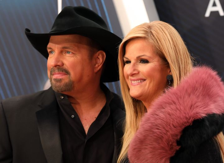 Garth Brooks and Trisha Yearwood arriveWednesday at the Country Music Association Awards in Nashville.