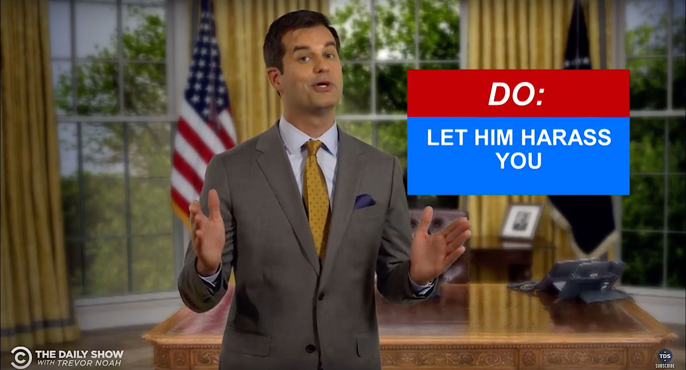 """""""The Daily Show"""" offers some advice on how to avoid harassing the president."""