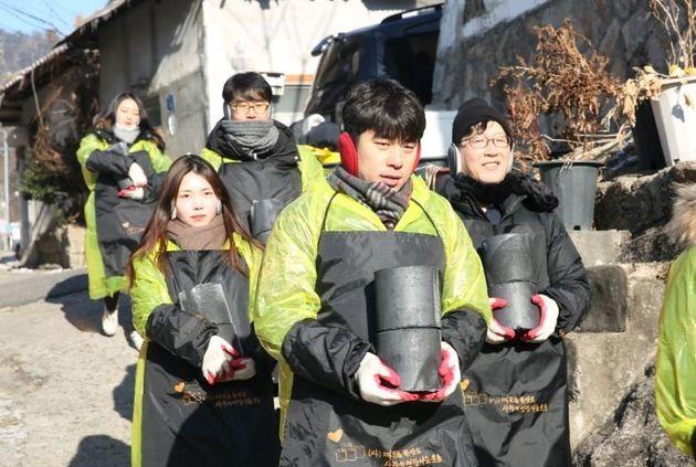 지난 1월, 노원구 상계동에서 진행된 '사랑의 연탄