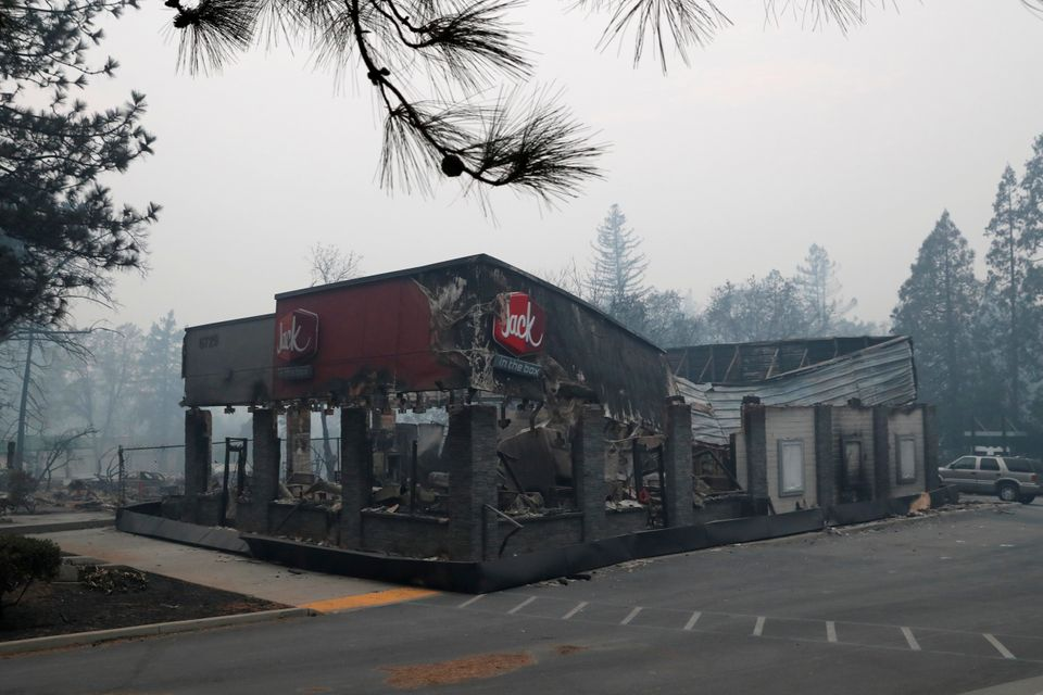 A Jack In The Box restaurant damaged by the Camp Fire in
