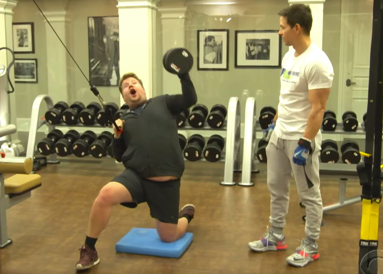 James Corden and Mark Wahlberg