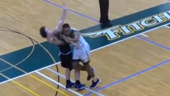 There was a violent foul by Kewan Platt near the end of of a Division III game between Nichols and Fitchburg State.