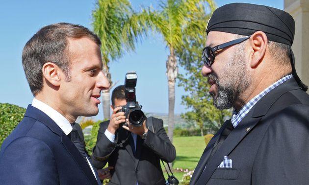 Le président français Emmanuel Macron reçu par le roi Mohammed VI à Tanger,...