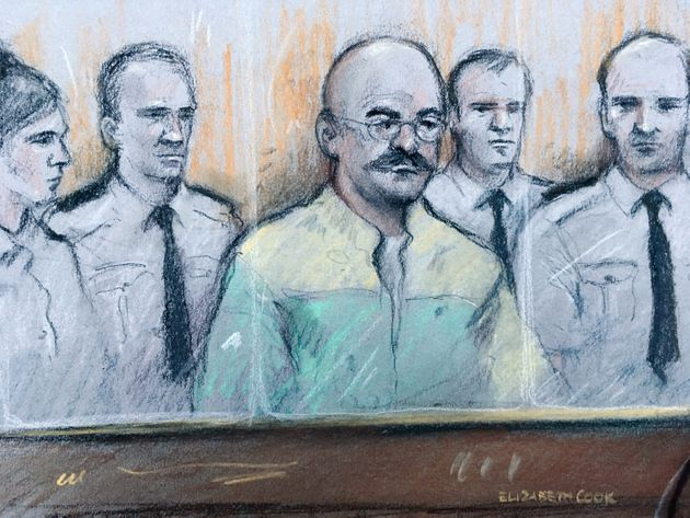 A court sketch of Bronson during the