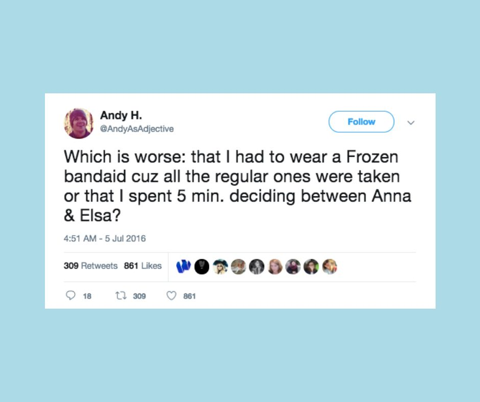 "Funny tweets from parents about the movie ""Frozen."""