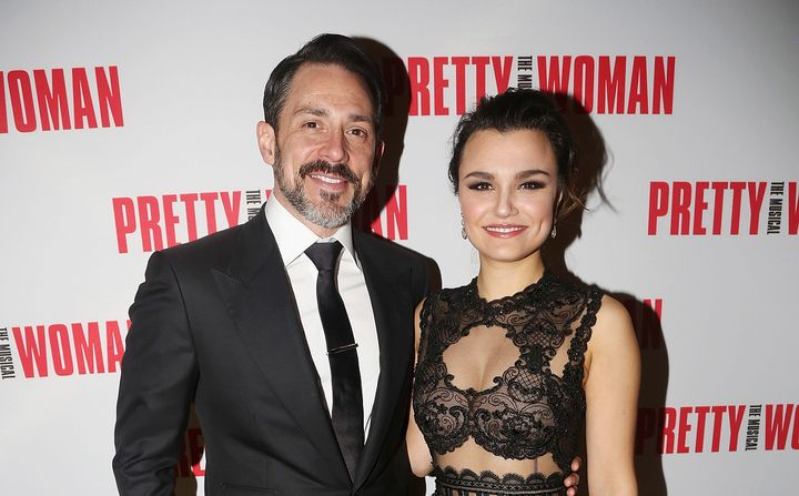 "Steve Kazee and Samantha Barks pose at an opening night party for ""Pretty Woman"" at Macy's Walnut Room on March 28 in Chicago"