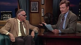 Stan Lee 1995 on Conan talking about Marvel comics writing obituaries as a freelancer.