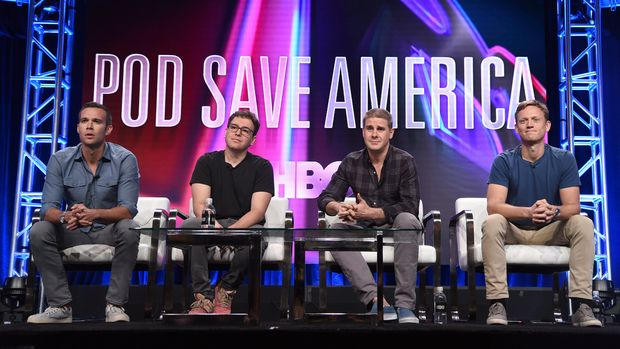 """Jon Favreau, from left, Jon Lovett, Dan Pfeiffer and Tommy Vietor participate in the """"Pod Save America"""" panel during the HBO Television Critics Association Summer Press Tour at The Beverly Hilton hotel on Wednesday, July 25, 2018, in Beverly Hills, Calif. (Photo by Richard Shotwell/Invision/AP)"""