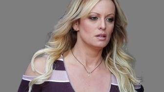 Stormy Daniels headshot, adult entertainer, graphic element on gray