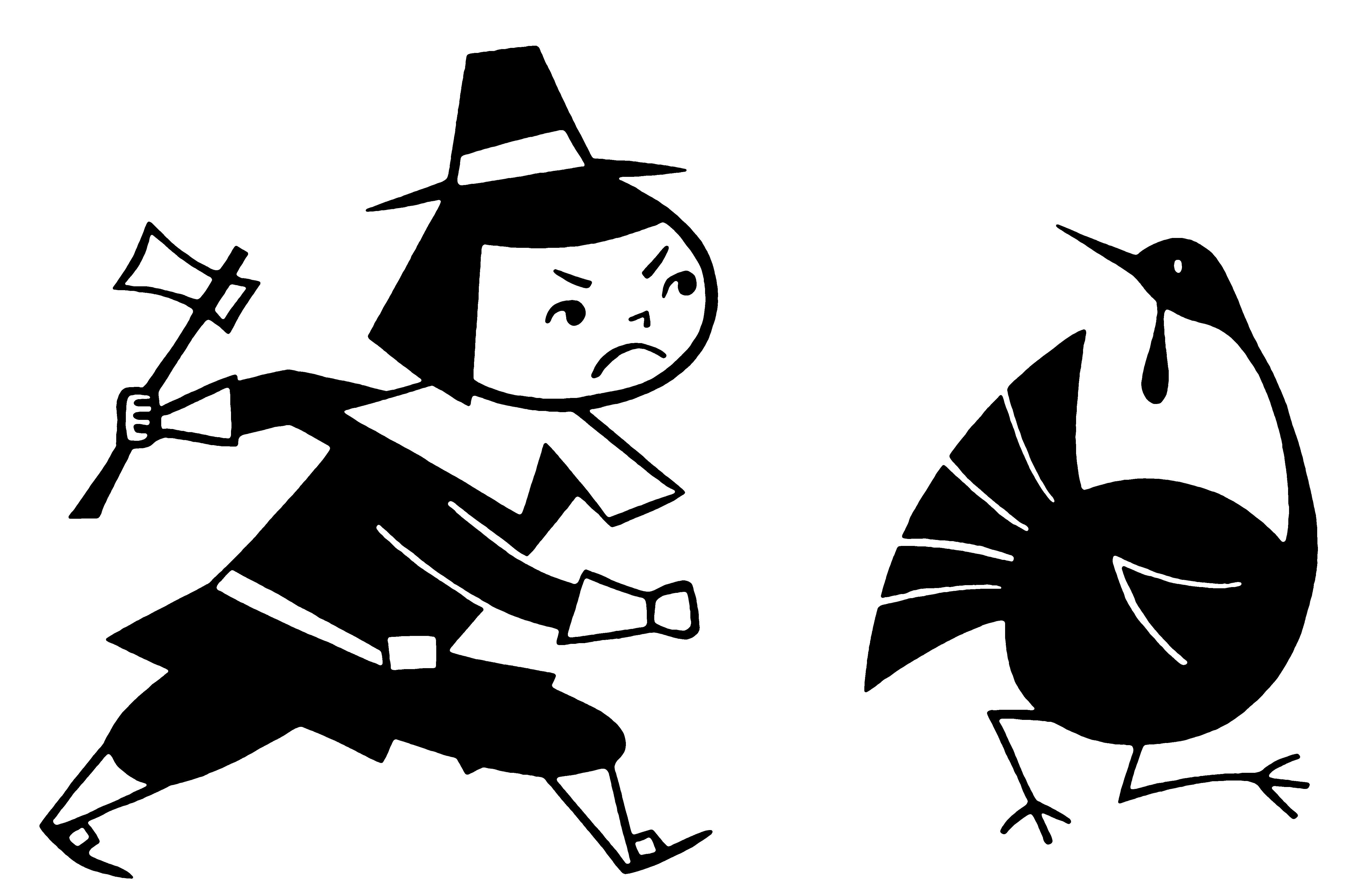 Pilgrim chasing Turkey for Thanksgiving Dinner