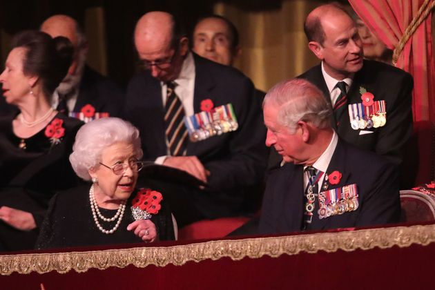 Queen Elizabeth II and Prince Charles attend the Royal British Legion Festival of Remembrance at the...