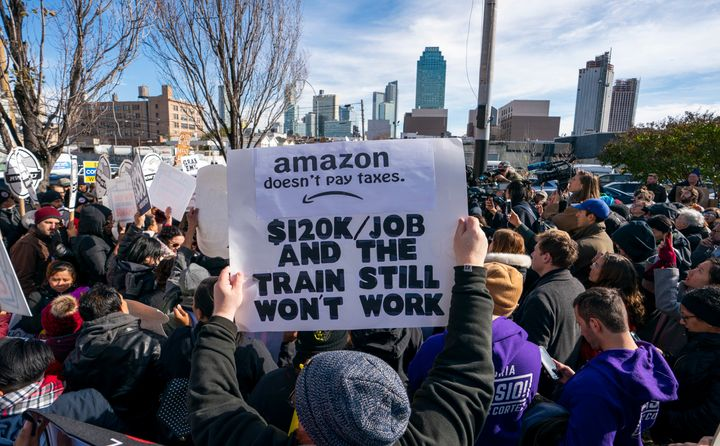"""Protesters gather in Long Island City to say """"No"""" to the Amazon HQ2 decision on Nov. 14, 2018, in Long Island City, New York."""