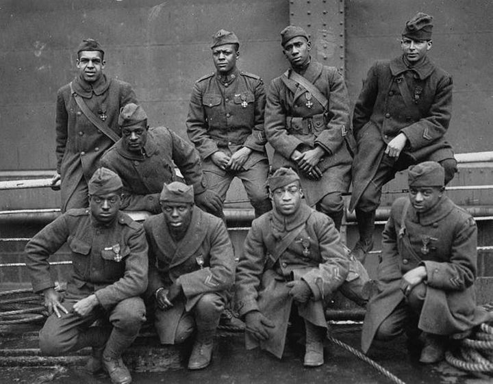 A group of soldiers pose from the 93rd Division's 369th Infantry Regiment, which was nicknamed the 'Harlem Hellfighters.' <a