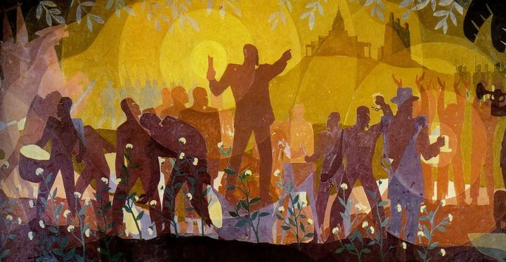 "Aaron Douglas. ""Aspects of Negro Life: From Slavery to Reconstruction."" Oil on canvas, 1934. <a rel=""nofollow"" href"