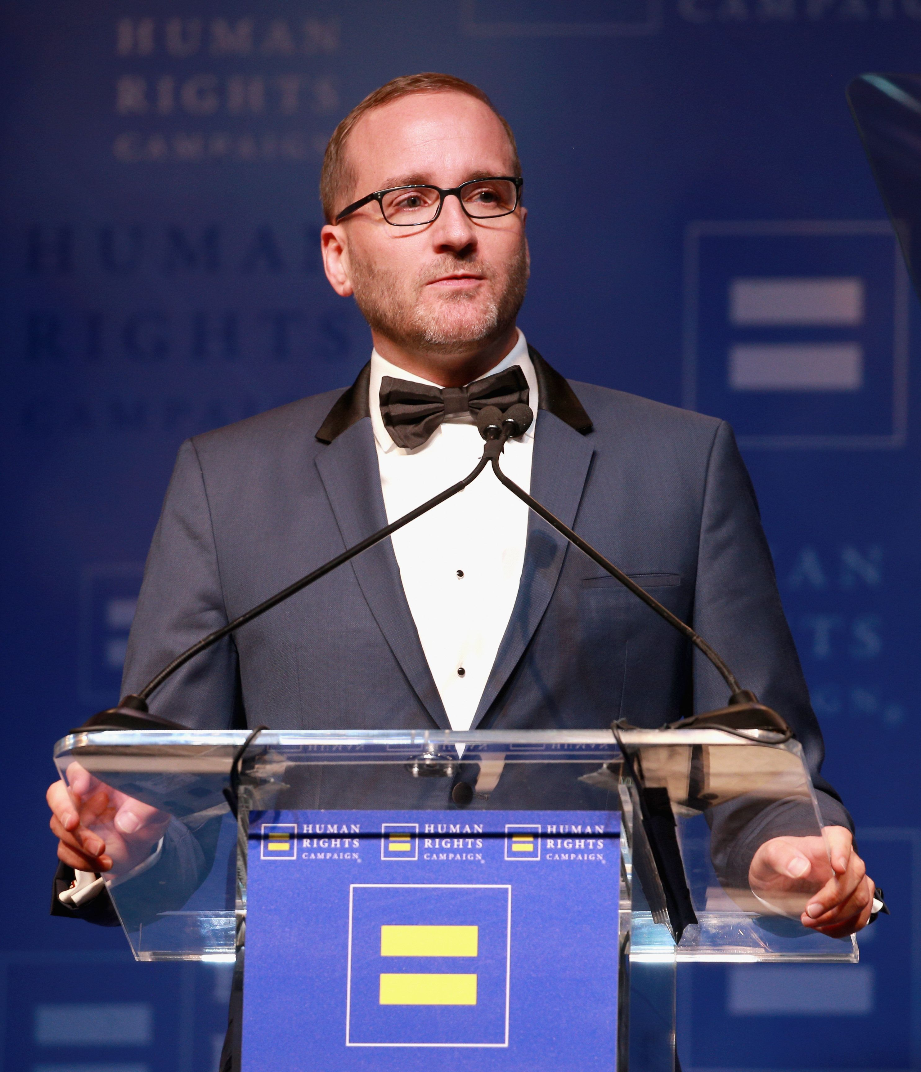 LOS ANGELES, CA - MARCH 10:  HRC President Chad Griffin speaks onstage at The Human Rights Campaign 2018 Los Angeles Gala Dinner at JW Marriott Los Angeles at L.A. LIVE on March 10, 2018 in Los Angeles, California.  (Photo by Rich Fury/Getty Images for Human Rights Campaign (HRC))