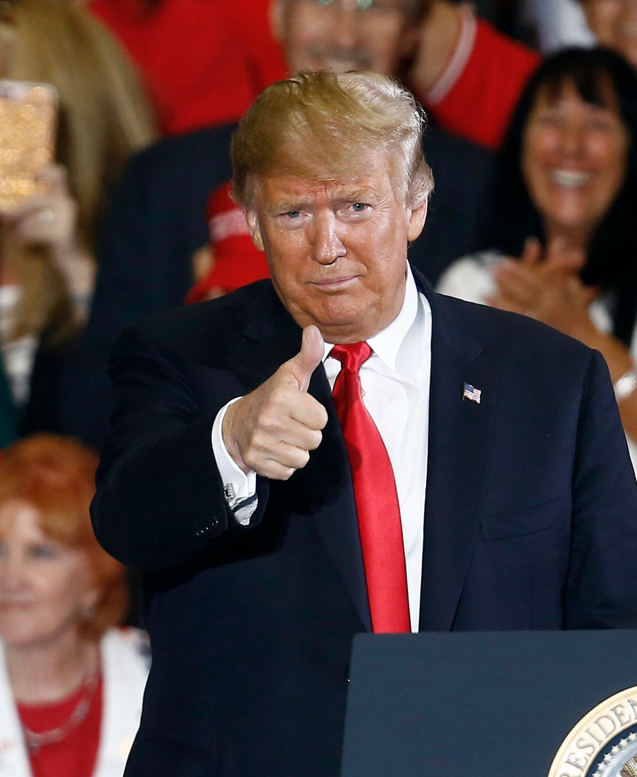 President Donald Trump gives a thumbs up after he spoke at a campaign rally, Saturday, Nov. 3, 2018, in Pensacola, Fla. (AP Photo/Butch Dill)