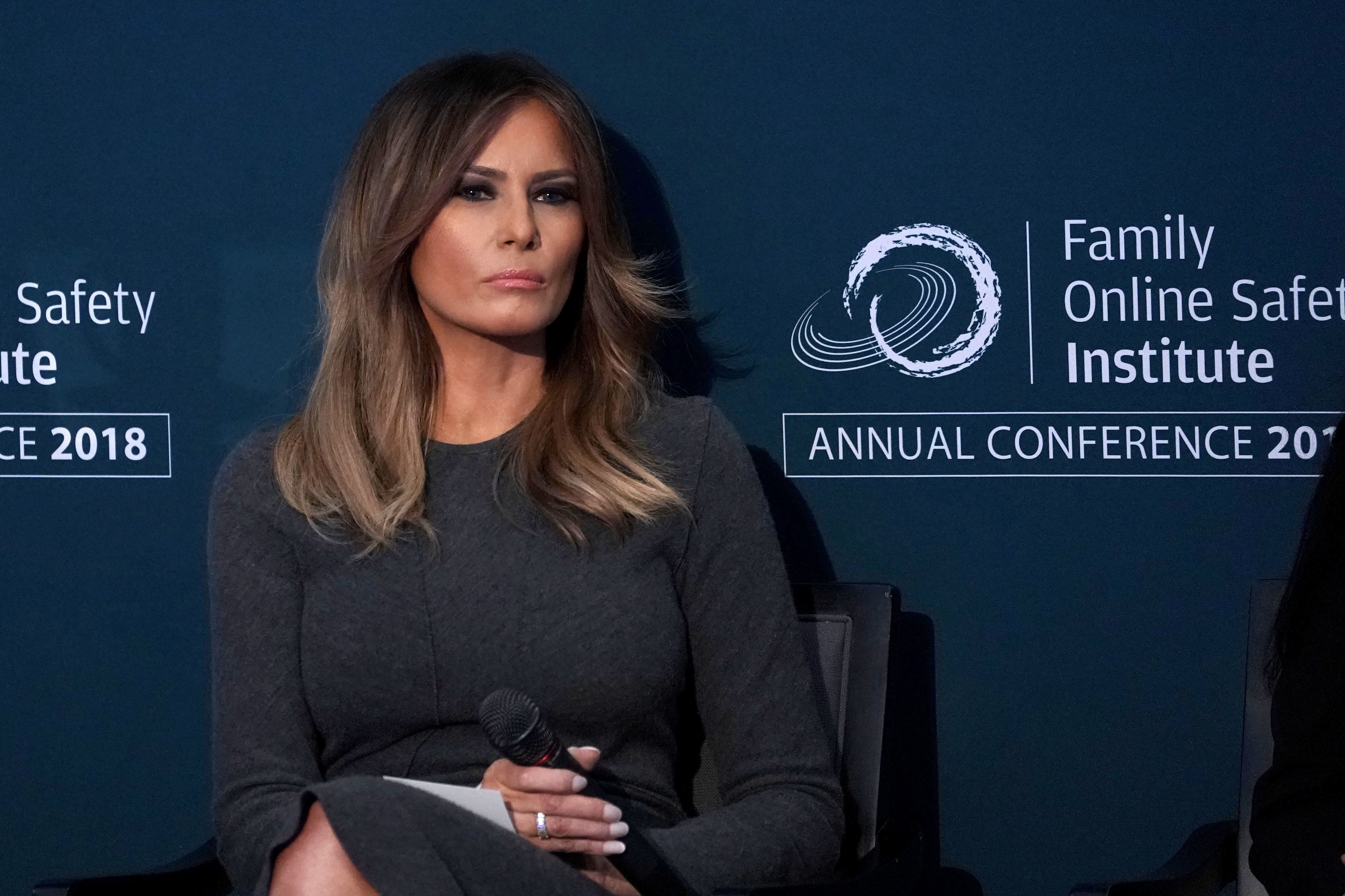 WASHINGTON, DC - NOVEMBER 15:  First lady Melania Trump listens during the annual conference of Family Online Safety Institute November 15, 2018 at the U.S. Institute of Peace in Washington, DC. The first lady participated in a discussion to end cyberbullying and promote civility online.   (Photo by Alex Wong/Getty Images)
