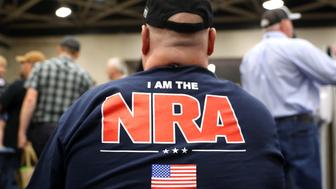 DALLAS, TX - MAY 05:  An attendee wears an NRA shirt during the NRA Annual Meeting & Exhibits at the Kay Bailey Hutchison Convention Center on May 5, 2018 in Dallas, Texas.  The National Rifle Association's annual meeting and exhibit runs through Sunday.  (Photo by Justin Sullivan/Getty Images)