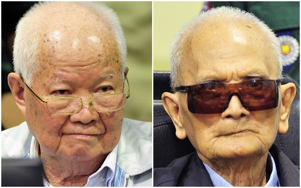 """Former Khmer Rouge head of state Khieu Samphan, left, and former Khmer Rouge leader """"Brother Number Two"""" Nuon Chea were found"""