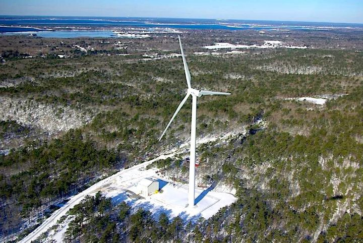 A wind turbine powering the Otis Air National Guard base on Cape Cod, Massachusetts.