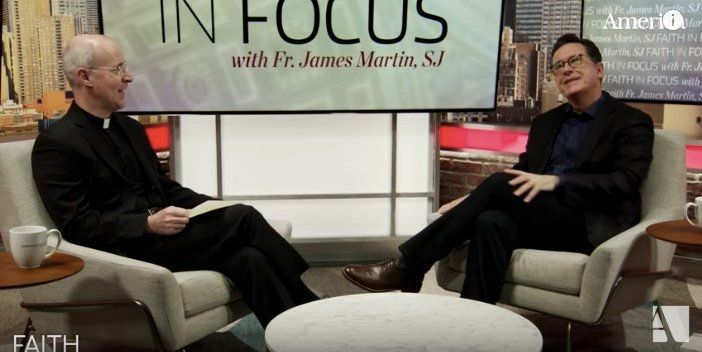"Stephen Colbert speaks with the Rev. James Martin on the Catholic program ""Faith in Focus."""