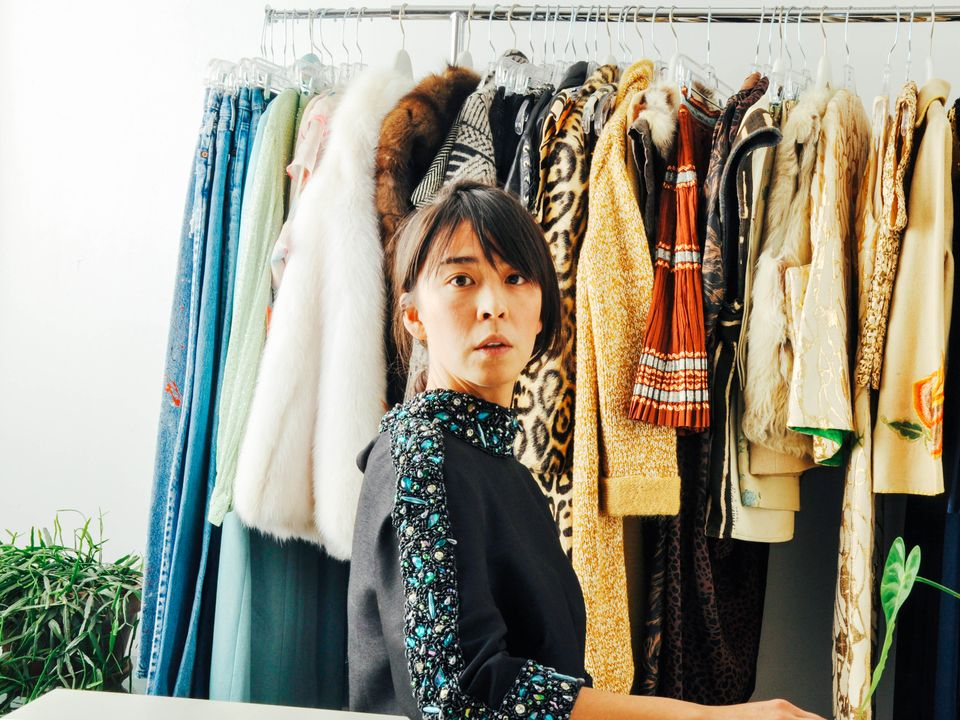 Amy Yee, founder of Maeven Vintage, in her Brooklyn