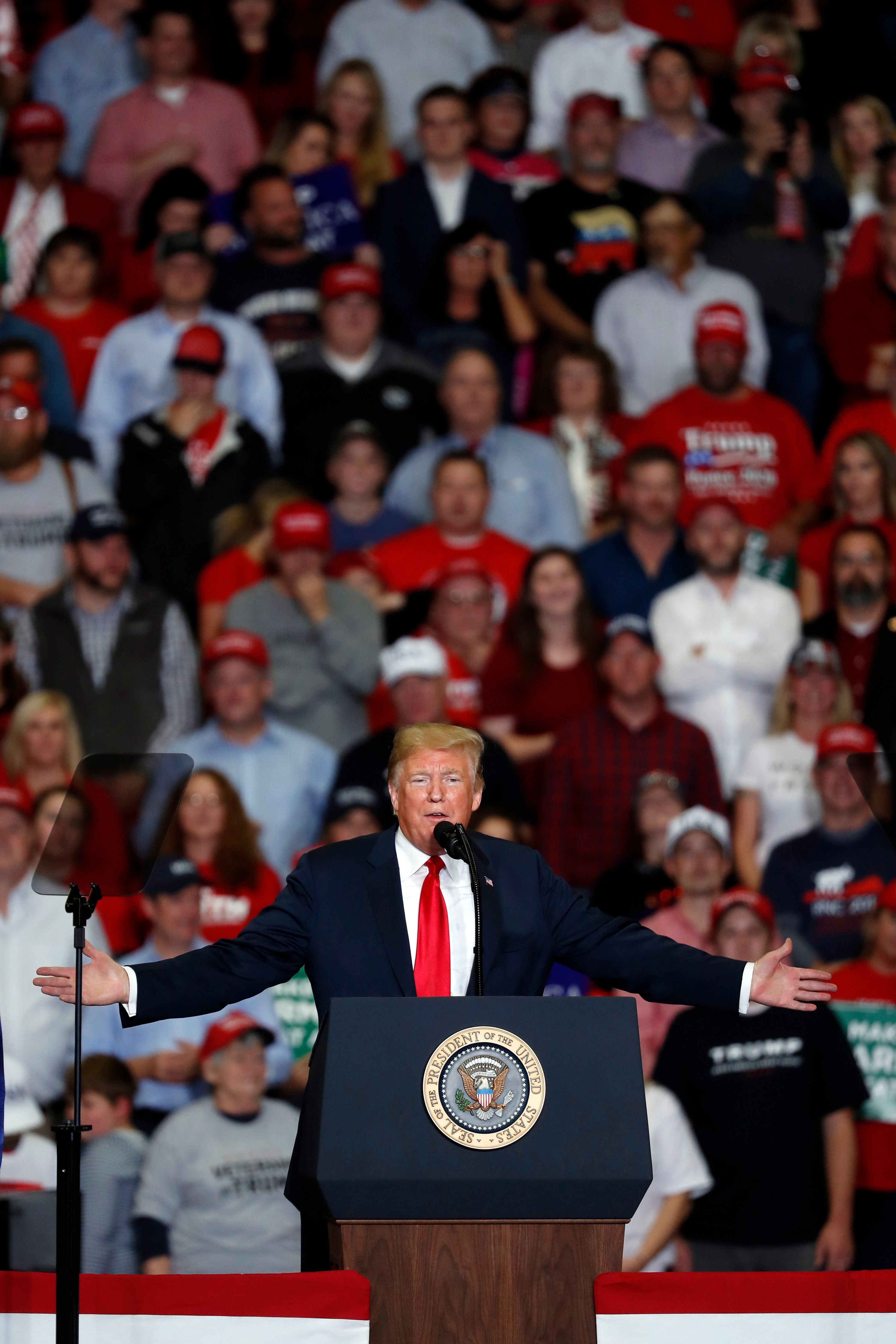 President Donald Trump speaks during a campaign rally Monday, Nov. 5, 2018, in Cape Girardeau, Mo. (AP Photo/Jeff Roberson)