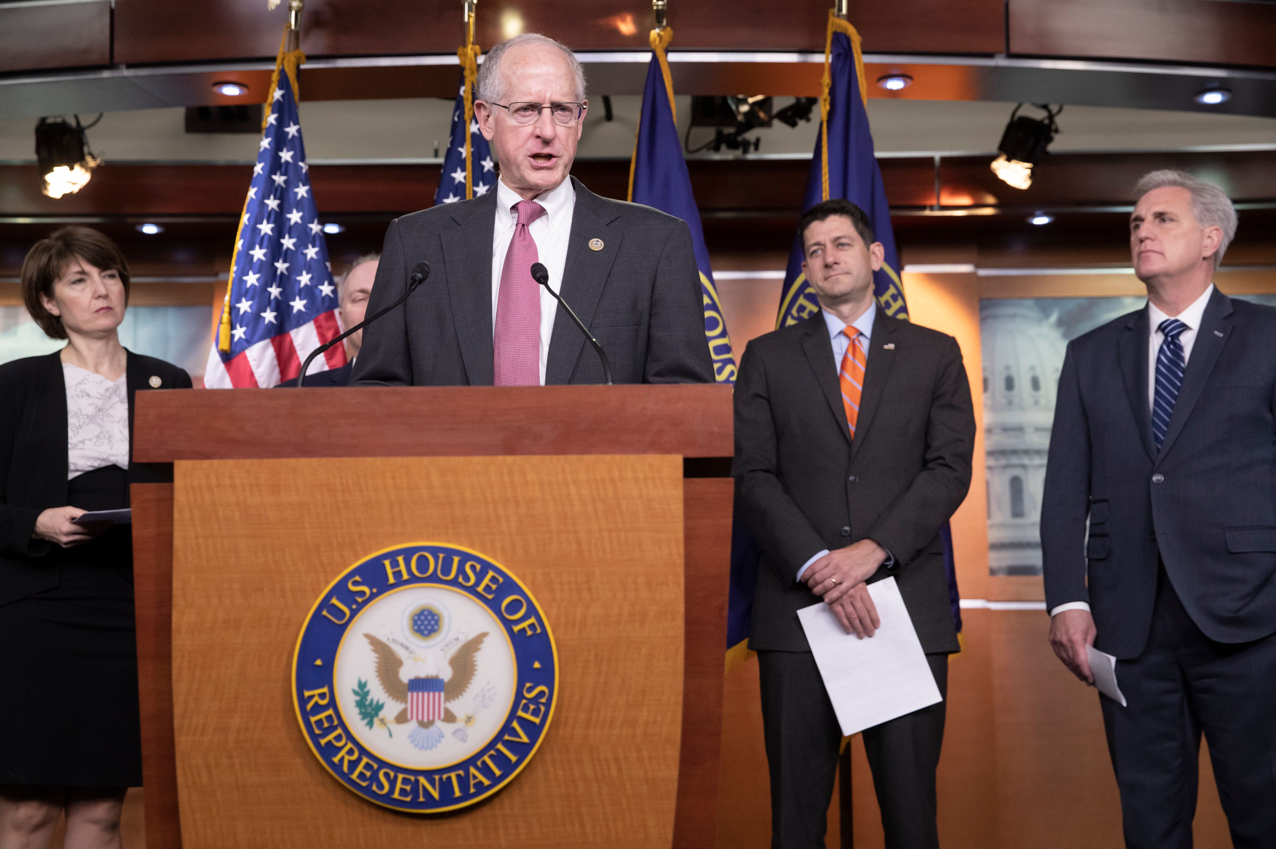 House Agriculture Committee Chairman Mike Conaway, R-Texas, joined from left by Rep. Cathy McMorris Rodgers, R-Wash., Speaker of the House Paul Ryan, R-Wis., and Majority Leader Kevin McCarthy, R-Calif., touts the newly-crafted farm bill during a news conference on Capitol Hill in Washington, Wednesday, May 16, 2018. The House plans to debate a long list of amendments on the controversial legislation today with House Republicans favoring a plan to strengthen work requirements for food stamps, but Democrats insisting that would hurt the poor. (AP Photo/J. Scott Applewhite)