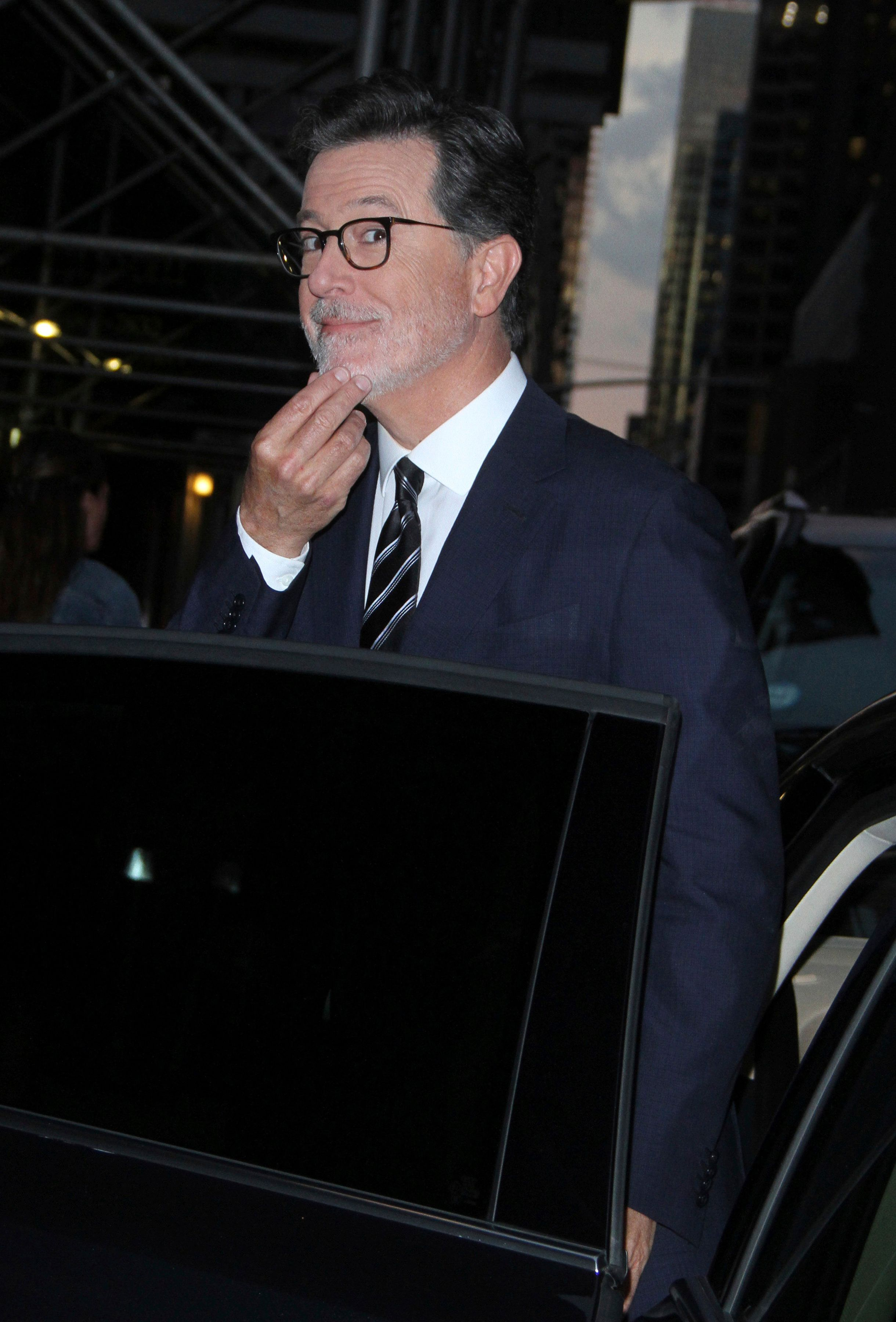 NEW YORK, NY - September 04: Stephen Colbert seen exiting The Late Show studio in New York City on September 04, 2018. Credit: RW/MediaPunch /IPX