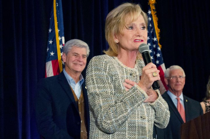 Sen. Cindy Hyde-Smith (R-Miss.) speaks to supporters during election night on Nov. 6, 2018. Hyde-Smith, who was appointed to