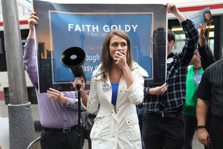 Toronto mayoral candidate Faith Goldy and some of her supporters protested outside a mayoral debate to which she was not invi