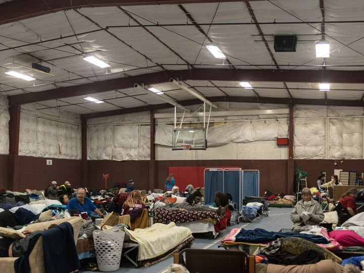 East Avenue Church Shelter in Chico, California, where norovirus has spread and makeshift quarantine barriers have been erect