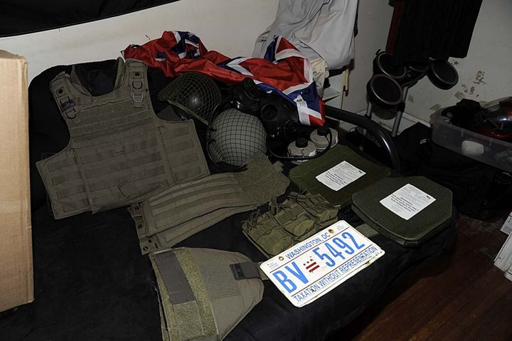 Body armor and helmets found inside the Clark home.