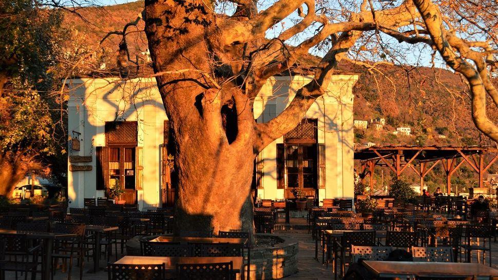 Χειμωνιάτικο δειλινό στην πλατεία της Μακρυνίτσας