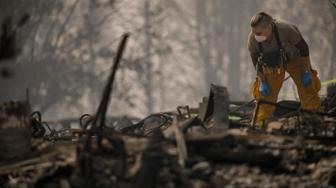 PARADISE, CA - NOVEMBER 16: A search and rescue team inspects an area taped for possible human remains as they comb through Paradise Gardens, which was destroyed by the Camp Fire on November 16, 2018 in Paradise, California. (Photo by Marcus Yam/Los Angeles Times via Getty Images)